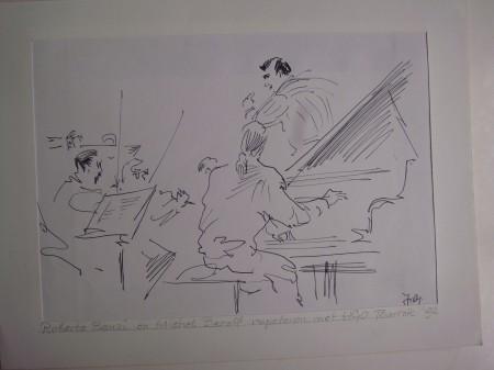 schets van Roberto Benzi en Michel Benoit door Hans Gorter