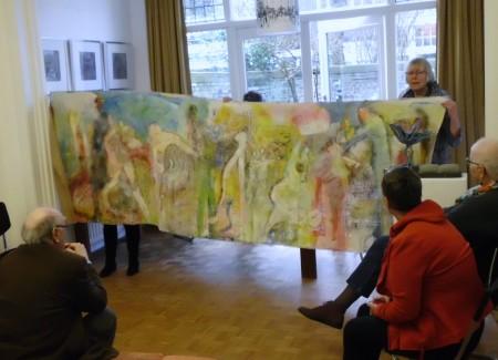 het grote doek uit zijn atelier in Oostenrijk!